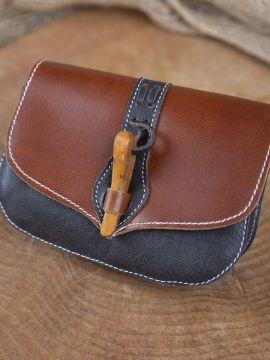 Sac de ceinture en cuir, fermeture en bois