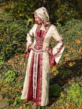 Robe à capuche avec ceinture en bordeaux-nature