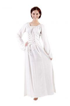 Robe médiévale blanche en viscose