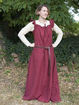 Robe médiévale sans manche à volant en rouge foncé