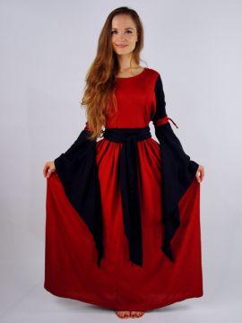 Robe manches trompettes, rouge et noire
