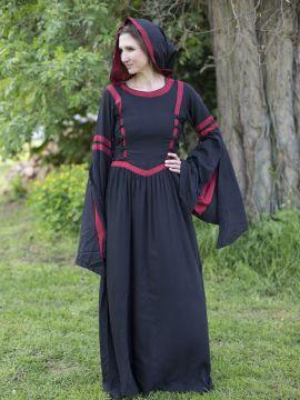 Robe à capuche en viscose, noire et rouge