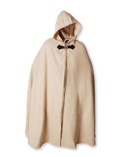 Cape en laine à capuche blanc-écru