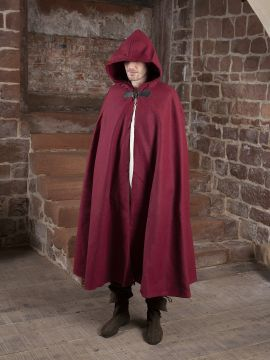 Cape unisexe en laine rouge