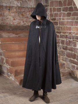 Cape en laine à capuche en noir