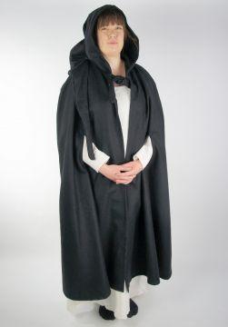 Cape à capuche unisexe en noir