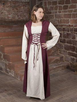 Robe médiévale avec capuche en rouge et naturel