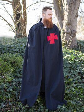 Cape noire avec croix rouge sergent templiers