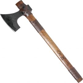 Petite hache viking avec manche gainé de cuir