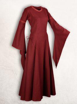 Robe médiévale manches trompette, en rouge