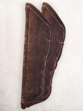 Gambison d'avant-bras, cuir suédé marron