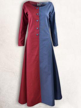 Robe médiévale bicolore à boutons bordeaux et bleu