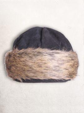Bonnet en cuir suédé et fourrure en noir