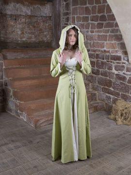 Robe médiévale Elsa en crème et vert clair