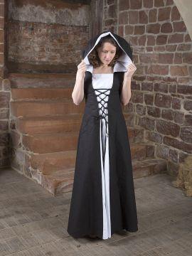 Robe médiévale Lucia noir et blanc 38