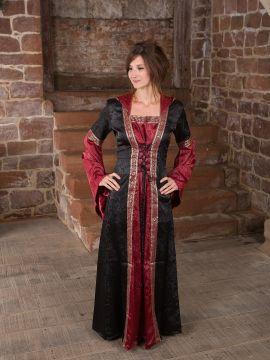 Robe médiévale avec capuche en rouge et noir
