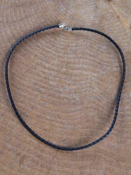 Collier en cuir tressé 45 cm