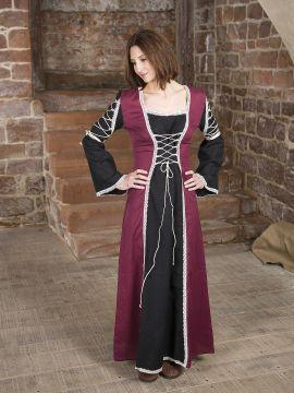 Robe médiévale Martha noire et bordeaux
