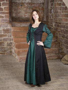 Robe médiévale Martha noire-verte