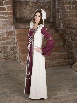 Robe  rouge et blanche, avec capuche et broderies S/M