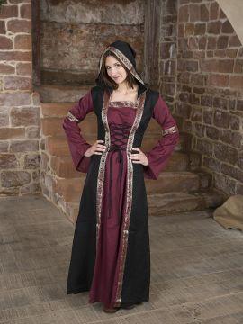 Robe bordeaux et noire, avec capuche et broderies