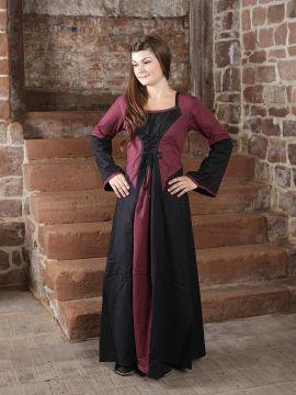 Robe médiévale bicolore (noire-bordeaux)