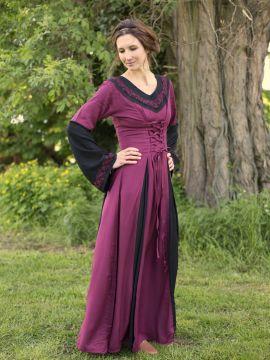 Robe médiévale bicolore avec broderie en noir et rouge S/M