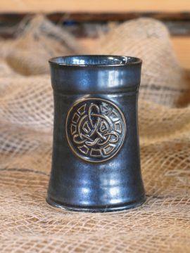 Mug en céramique avec Noeud celtique, en bleu-gris.