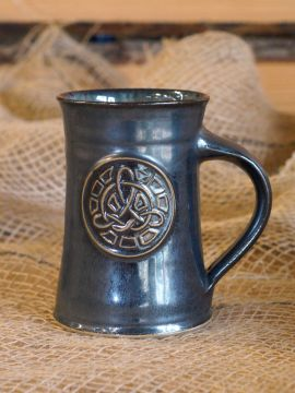 Chope à bière motif Noeud celtique, en gris-bleu