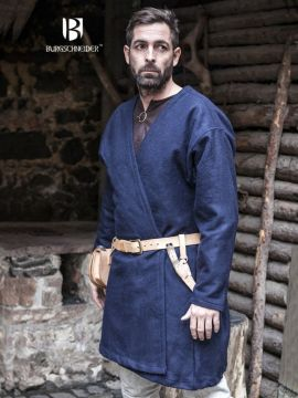 Veste viking croisée en laine, couleur bleue