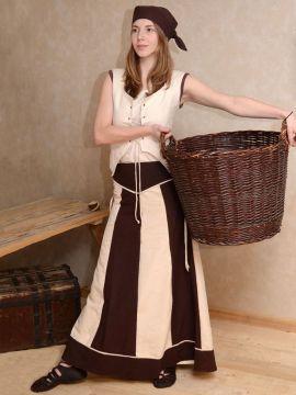 Jupe bicolore en marron et blanc-écru