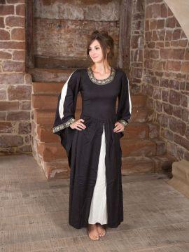 Robe médiévale à gros galons, noire et écrue
