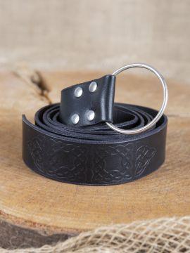 Ceinture en cuir noir gaufré