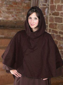 Capuchon en laine feutrée en marron