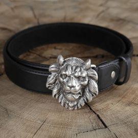 Ceinture en cuir tête de lion
