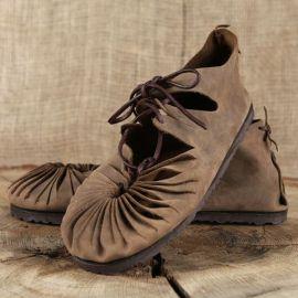 Ballerines médiévales en cuir avec semelle