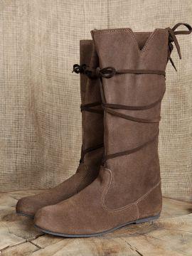 Bottes médiévales en cuir chamoisé à lacets pour femme