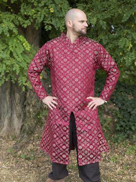 Tunique avec motifs damassés col droit en rouge