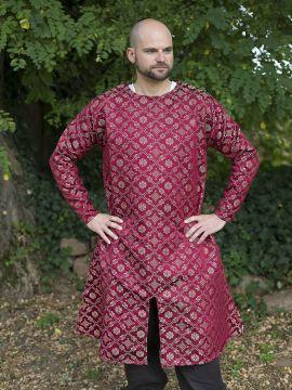 Tunique avec motifs damassés en rouge