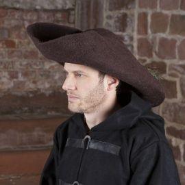 Chapeau tricorne ou bicorne en feutre en marron
