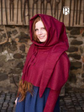 Capuchon médiéval en rouge