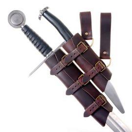 Porte-épée double, en cuir marron