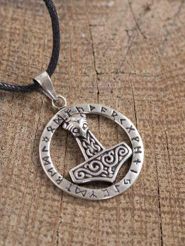 Pendentif anneau runique, marteau de Thor