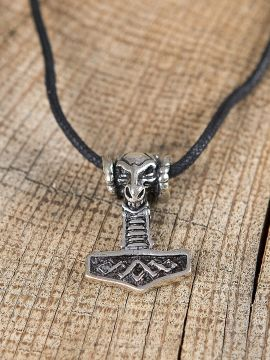 Pendentif marteau Thor à tête de bélier en argent