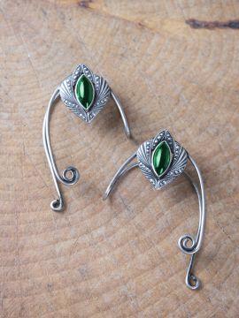 Clips d'oreille avec pierre verte Paire