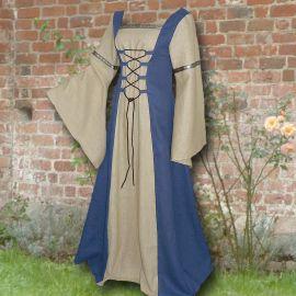 Robe médiévale Elisabeth en bleu clair et sable