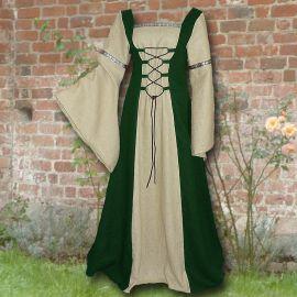 Robe médiévale Elisabeth en vert et sable