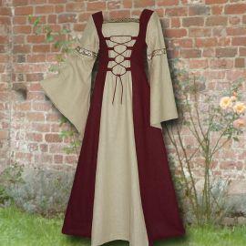 Robe médiévale Elisabeth en bordeaux et sable