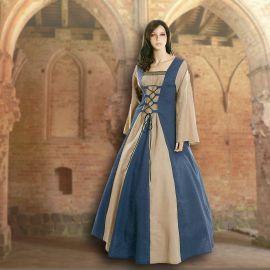 Robe médiévale Fabienne en bleu clair et sable