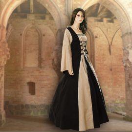 Robe médiévale Fabienne en noir et sable